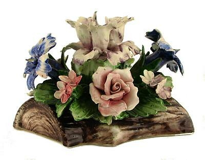 Vintage Capodimonte Italy Ca. 1979 Floral Centerpiece Roses Marked Paper Label