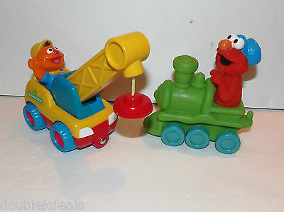 Set Of 2 Sesame Street Toys Elmo On Train As Conductor And Ernie  Construction 60422340e11d