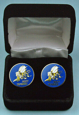 US NAVY SEABEES Cuff Links in Presentation Gift Box -USN SEA BEE USN Cufflinks