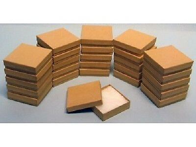 """100 Kraft Cotton Filled Jewelry Craft bracelet earring chain Gift Boxes 3 1/2"""""""