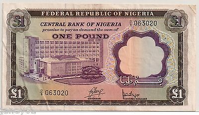 ~ Federal Republic of NIGERIA  One Pound Banknote - P12a ~