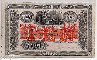 ~ NORTHERN IRELAND  Ulster Bank £10 Banknote - 1944 - P317 ~