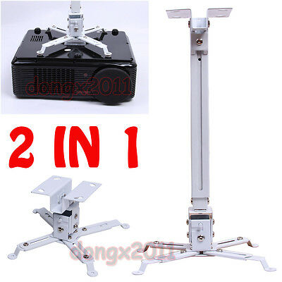 White 2 In 1 Universal Lcd Dlp Projector Mount Ceiling Wall Bracket UK Stock