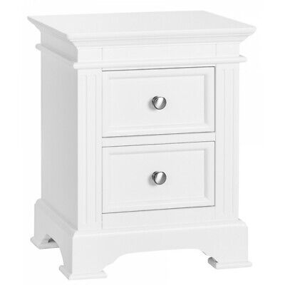 Reims White Painted Furniture 2 Drawer Bedside Cabinet Table Pair