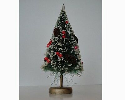 Vintage Christmas Miniature Bottle Brush Tree with Pine Cones