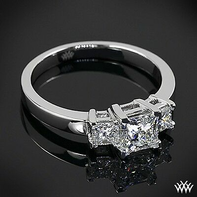 Stainless Steel 3 Square Princess CZ Stone Past Present Future Promise Ring