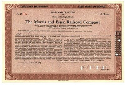 [42087] 1945 Morris And Essex Railroad Company Stock Certificate (3 Shares)