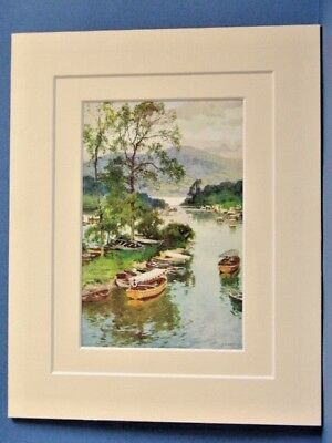 BALLOCH BRIDGE LOCH LOMOND SCOTLAND VINTAGE DOUBLE MOUNTED HASLEHUST PRINT c1920