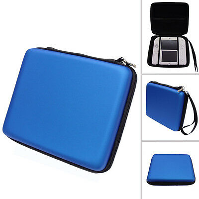 BLUE Hard Protective Carry Storage Case Cover With Zip for Nintendo 2DS + Games