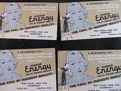 VINTAGE LOT OF 4 INK BLOTTER ADVERTISING-REX COAL AND ICE CO.-CRESTON,IOWA