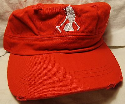 Pinnacle Atomic Hots Vodka....Military Style Hat...Red....Worn Look....NEW