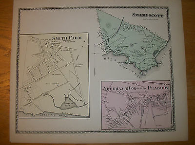 Antique map Swampscott, Mass. from 1872 Beers Atlas of Essex County, rare