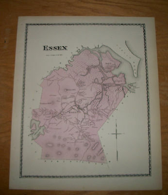 1872 Map of Essex, Massachusetts, from Beers Atlas of Essex County, MA RARE