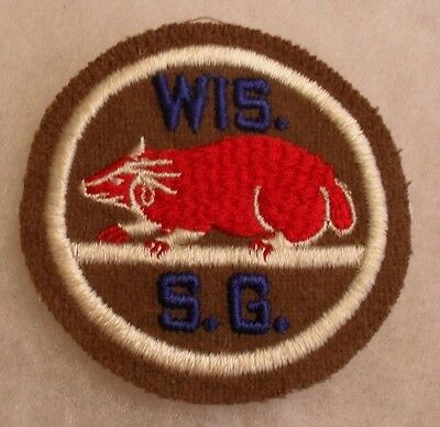 Wwii Wisconsin State Guard Embroidered On Wool With Cotton Gauze Back