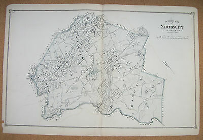 1875 Map of Newton, Massachusetts from Beers Atlas of Middlesex County -original