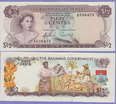 Bahamas 50 Cents Banknote 1965 About Uncirculated Condition Cat#17-A-6475