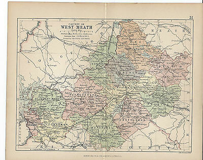 1881 County West Meath Ireland Map From Philips Handy Atlas