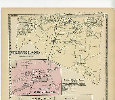 Antique map Groveland, Mass. from 1872 Beers Atlas of Essex County, hard to find