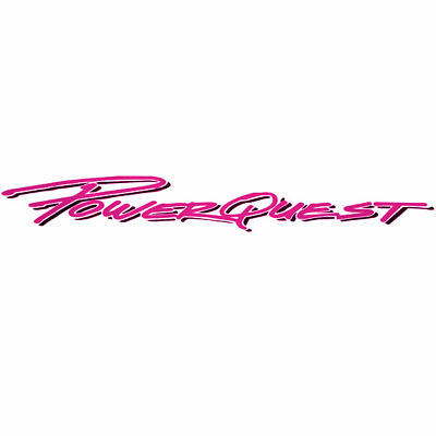 PowerQuest Boat Brand Logo Decal | 32 1/4 x 5 1/8 Inch Hot Pink / Charcoal