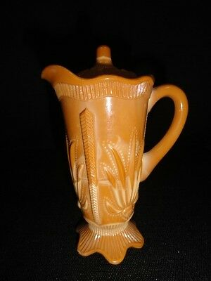 """-20% Antique 5 1/2"""" chocolate slag glass footed covered cactus design creamer"""