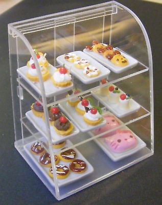 1:12 Scale Acetate Counter Display + Cakes Dolls House Miniature Accessory