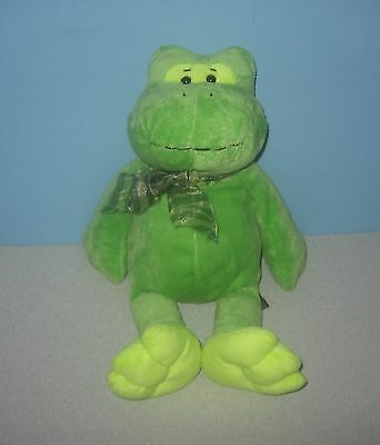 "The Petting Zoo Green Pong Frog Froggy 14"" Bean Stuffed Floppy Plush Plushie"