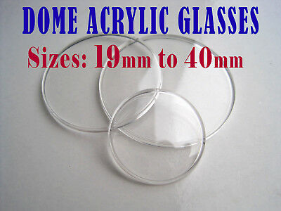 Low DOME WATCH GLASS crystal face lens, ACRYLIC, from 19mm to 40mm