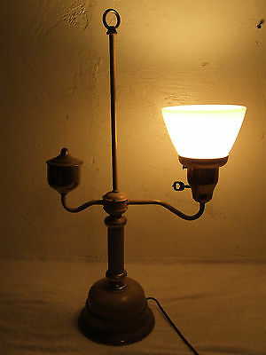 Vintage Brass Single Student Desk Lamp Electric Table Lamp with Milk Glass Shade