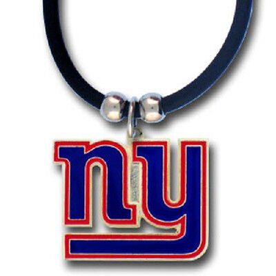 New York Giants Necklace Black Rubber Cord Large Metal Pendant NFL Football Team