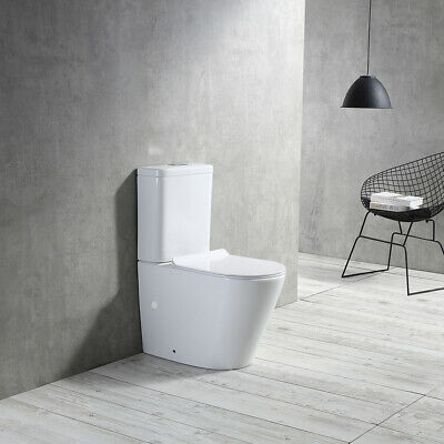 TRINO Rimless Bathroom Toilet Suite Ceramic Back To Wall Soft Close Seat REN05FP
