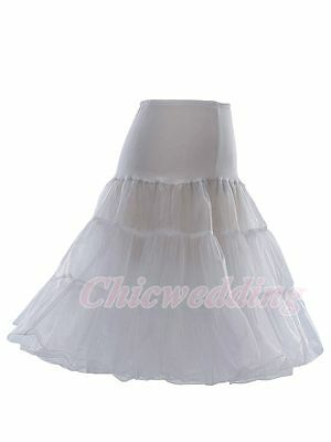 White Hoopless Wedding Petticoat Bridal Crinoline/Underskirt/Slips Tea Length