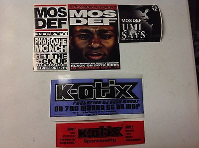 Lot of 6 NEW Hip Hop PROMO Stickers RAWKUS RECORDS MOS DEF PHAROAHE MONCH K-OTIX