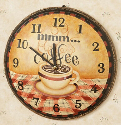 New Country Primitive Shabby COFFEE CLOCK Mmm Cafe Wood Wall Sign