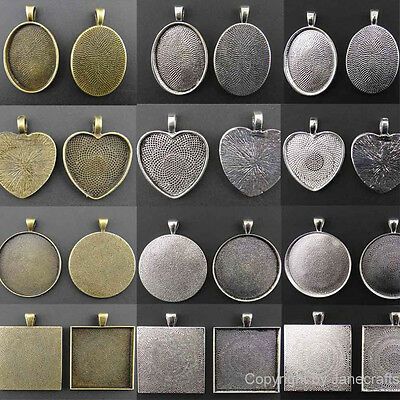 100x 16/20/25/30/35mm Pendants Antique Style Silver Cameo Cabochon Setting Base