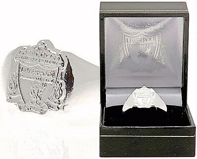 Liverpool Fc Silver Plated Crest Ring Complete In Gift Box Lfc Size R U X
