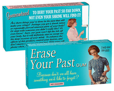 Erase Your Past Gum- Funny Chewing Gum-Gag Gift-Cinnamon Flavored Gum- NEW