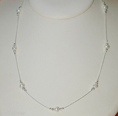 """3 pcs 16.5"""" Sterling Silver 925 Chain Laser Cut Beads Freshwater Pearl NECKLACES"""