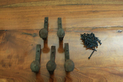 5 Old Railroad Spike Horse Tack Hooks, Barn Handles, or Knobs Retro Vintage