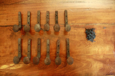 12 Old Railroad Spike Horse Tack Hooks, Barn Handles, or Knobs Retro Vintage