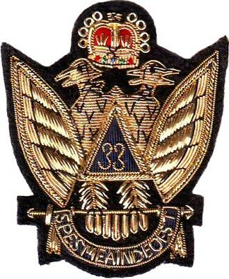 Masonic Scottish Rite Aasr 33 Degree Emblem Patch Hand Embroidered (Me-088)