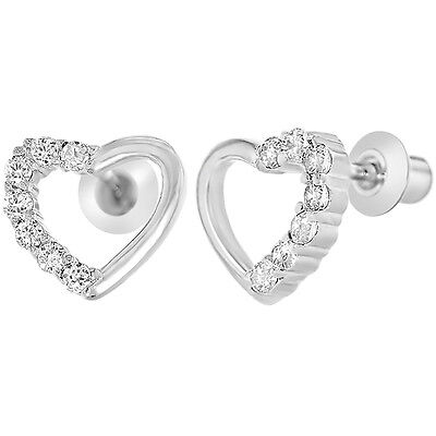 White Gold Filled 18k Clear Crystal CZ Heart Baby Children's Screwback Earrings