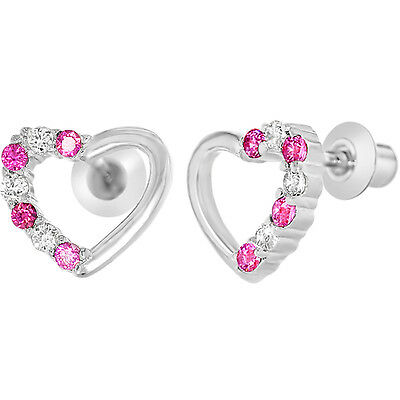 White Gold Filled 18k Clear & Pink Crystal Heart Baby Screwback Girls Earrings