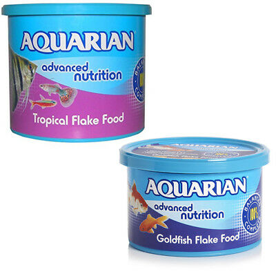 Aquarian Tropical/Coldwater Goldfish Flake Fish Food Aquarium Tank - Genuine Tub