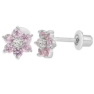 White Gold Filled 18k Pink & Clear Crystal Flower Baby Kids Screwback Earrings