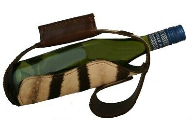 Real ZEBRA HIDE & LEATHER WINE BOTTLE CARRIER HOLDER & POURER -NEW Superb! #tr26