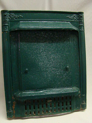 Antique Late 1800's Cast Iron Ornate Gas Fireplace Insert With Tin Summer Cover