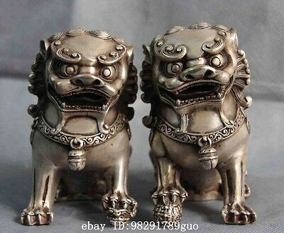 Chinese Folk White Copper Silver Fengshui Evil Foo Dog lion Beast Statue pair