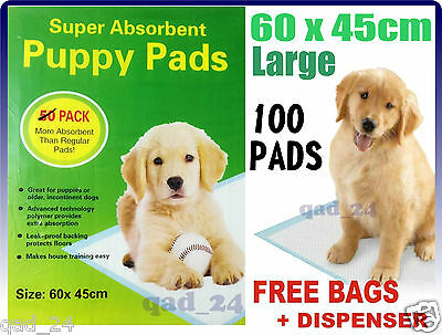 100 X Puppy Training Pads Dog Pee Wee Mat Trainer Pet Toilet - LARGE 60 x 45CM