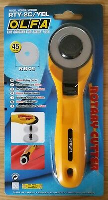 OLFA 45mm Rotary Cutter RTY-2/G Sewing Quilt cuts Fabric Leather Paper *NEW*