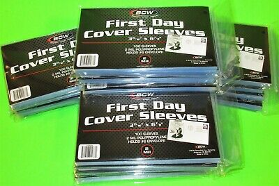 2000 First Day Cover Poly Sleeves, For #6-3/4 Covers, Crystal Clear, Bcw Brand